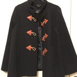 J. Crew Factory navy blue toggle wool cape coat